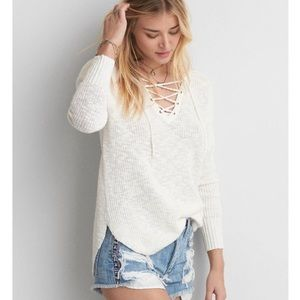 White lace up sweater